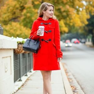 HP NWOT Kate Spade wool red removebale hooded coat
